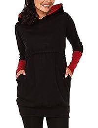 Sidiou Group Mutterschaftshoodie Frauen Hoodies Pullover Langarm Kapuzenpullover Damen Hoodie Sweatshirt Stillen Damen Kapuzenpullover Stillzeit Zweilagiges Kontrastdetails
