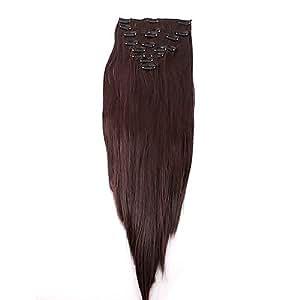 REELVA Extensions de Cheveux à Clips Longue Raides 22 Pouces de Haute Qualité (Brun Foncé)