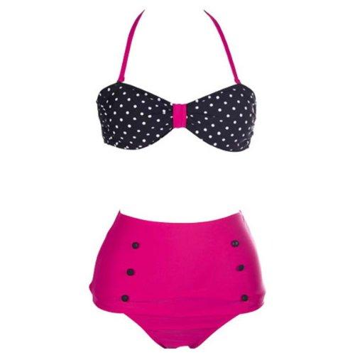 Bikini de Juego, alta cintura, Vintage Retro, de Bandeau Top, Negro, d