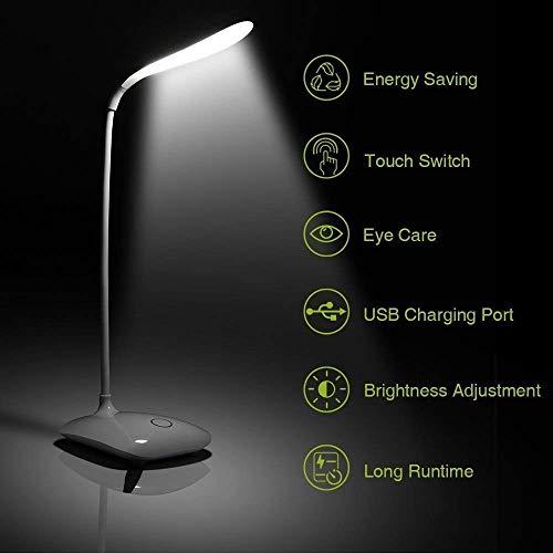 Azacus Plastic 18 LED USB Port and Power 3 Brightness Levels Desk Lamp, White