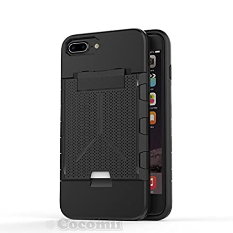 iPhone 8 Plus / 7 Plus / 6S Plus / 6 Plus Coque, Cocomii Viking Armor NEW [Heavy Duty] Premium Built-in Multi Card Holder Shockproof Hard Bumper Shell [Military Defender] Full Body Dual Layer Rugged Cover Case Étui Housse Apple (Black)