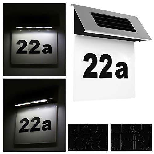 Spetan Solarhausnummer mit 4 LEDs beleuchtet transparent aus Edelstahl, Hausnummernleuchte LED Solar Automatische Nachterkennung, solar Hausnummernschild für Außenwandleuchte