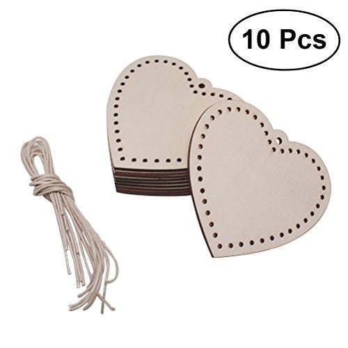ultnice 100Holz Herz Discs Scheiben zum Aufhängen Verzierungen Craft Hochzeit DIY Dekoration Ornament