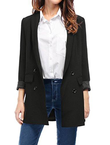 Breasted Blazer (Allegra K Damen Mode Schal Kragen Doppeluble Breasted Klappe Taschen Blazer Schwarz/XS (EU 34))