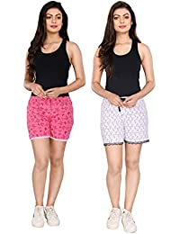 StyleAone Women's Cotton Printed Shorts - Pack of 2