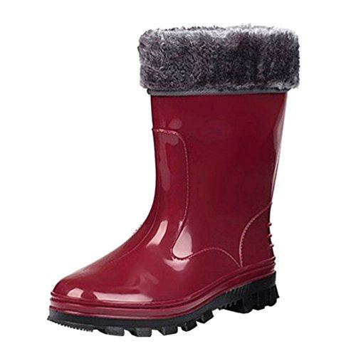 LvRao Damen Outdoorschuhe Regenstiefel Festival Garten Wasserdicht Halbschaft Gummistiefel Schneestiefel Booties (Rot #Socken Gefüttert, CN 38/EU 37)
