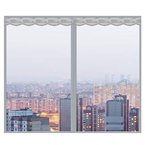 Fliegengitter Fenster, Magnetic Fliegengitter Magnet-Rahmen Insektenschutz Fenster Insektenschutz für Fenster Insect Stop Fliegengitter für Fenster-150x170Cm(59x67Zoll)-Grau