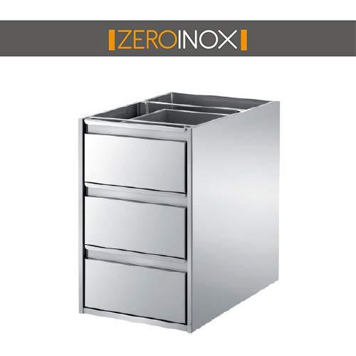 ZeroInox Kommode 3 Schubladen aus Edelstahl für Tische – Tiefe 40 & 60 cm – Verschiedene Größen – für Küchen, Pizzerie, Restaurants