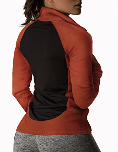 icyZone® Fonctionnel Polo Pour Femme 1/2 Zip Manches Longues Persimmom