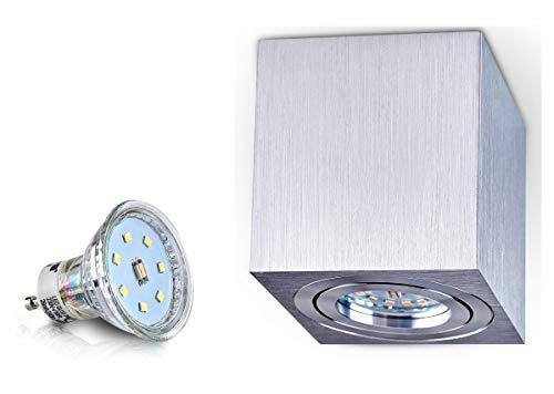 PALERMO Deckenlampe Deckenleuchte Strahler mit 4W LED PanderLights TÜV SÜD SMD Würfel Qube Downlight (Silber Würfel 4W)