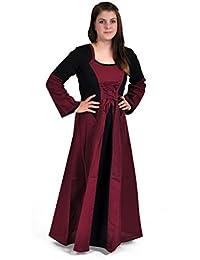 Medieval Dress Long Red Black Brustschnürung Trompetenarm Skirt