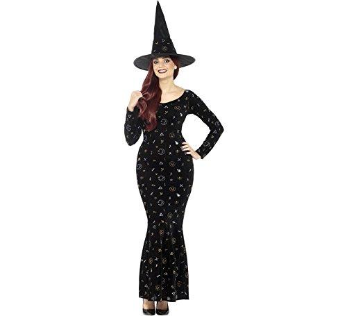 Magie Schwarze Kostüm - Smiffys Damen Deluxe Schwarze Magie Hexen Kostüm, Velours Kleid und Hut, Größe: 40-42, 45120