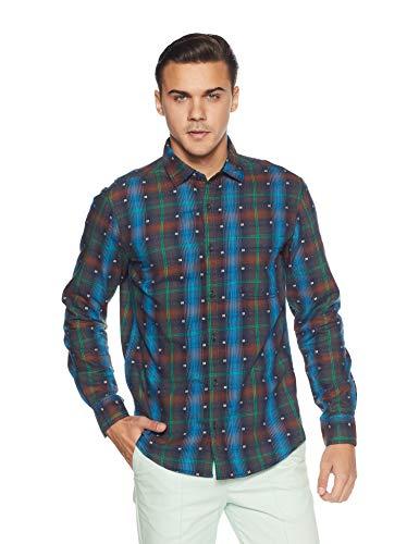 Diverse Men's Checkered Regular Fit Casual Shirt (DVC07C2L03-200B!_Multicolor-Blue!_Medium)