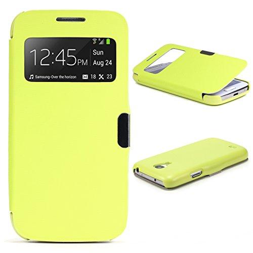 Urcover® View Case Handy Schutz-Hülle | Samsung Galaxy S4 Mini | Hart Kunststoff Grün | Elegant Wallet Cover Sicht-Fenster | leichte Schale dünne Tasche (Galaxy Entsperrtes Samsung S4)