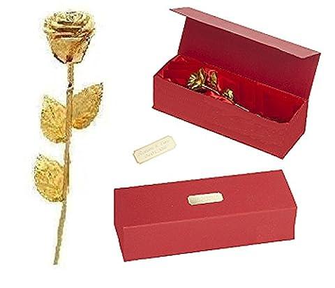 Remmo&Love LUXUS Goldene Rose mit Personalisierte WUNSCH GRAVUR Echte ewige