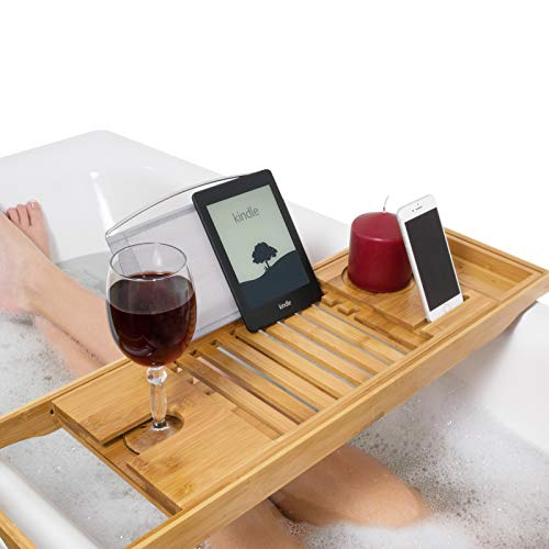 Relux Premium 100% Natural Bamboo Bath Caddy Bridge – Extendable Luxury Book Rest, Wine Glass Holder, Device (Tablet, Kindle, iPad, Smart Phone) Tray for a Home-Spa Experience – Fits Most Bath Sizes