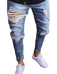 Keephen Pantaloni da Uomo Jeans Strappati Slim Fit Moto Vintage Denim Hip  Hop Streetwear Pantaloni Adatti 8e8c281150de