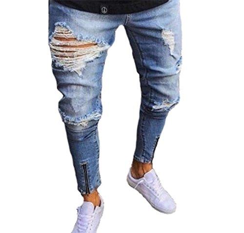 Männer Hosen, Stretchy Ripped Skinny Biker Jeans der Männer Destroyed Taped Slim Fit Denim Hosen