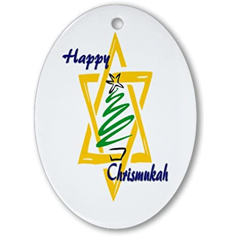 CafePress–Happy chrismukah–Ovale vacanza decorazione natalizia - Fare Christian Ornamenti