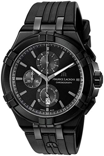 Maurice Lacroix Men's Analog Swiss-Quartz Watch with Rubber Strap AI1018-PVB01-333-1
