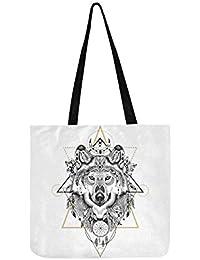 Détail loup aztèque Style toile fourre-tout sac à main sac à bandoulière  Crossbody sacs abea439daa7a