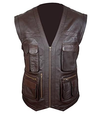 F&H Men's Jurassic World Chris Pratt Owen Grady Genuine Leather Vest XL Brown