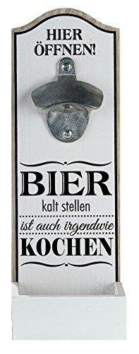 1 x Wand-Flaschenöffner MDF Metallöffner, Kronkorkensammler weiß/schwarz Höhe 30 cm, Wanddeko (Bier kalt stellen...)