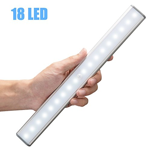 Moston 18 LED Schranklicht,Wandlicht,USB,Wiederaufladbar,Bewegungsmelder mit Sensor,mit Schalter,tragbares Licht,Nachtlicht,ohne Kabel,magnetisch,Lichtleiste(Silber)
