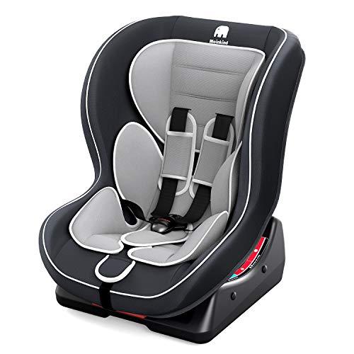 Meinkind Autositz Kindersitz Kinderautositz, Universal, Gruppe 0+, 1(0-18kg)(0-4 Jahre Alt) mit 2 Kopfstützen und gepolstertem Sitz, 3 Liegepostition einstellbar - (Grau)