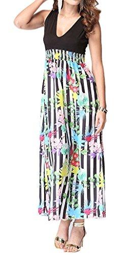 Smile YKK Femme Robe Longue V Col Chiffon Peplum Slim Moulante Colonne Floral Vert
