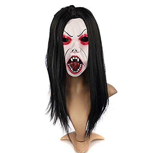 Haaren Einfache Mit Langen Kostüm Für Jungs - Halloween Maske Horror Maske Weißes Haar Blutende Latex Maske Maskerade Party Dekoration Requisiten,Gruselige Maske