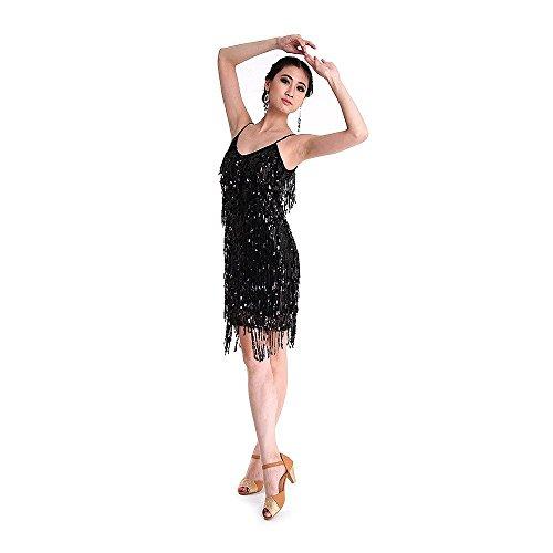 SymbolLife Vestito Latino da Ballo, Rumba Salsa Ritmo Tango Attraente Nappa Ballo di Paillettes Nero