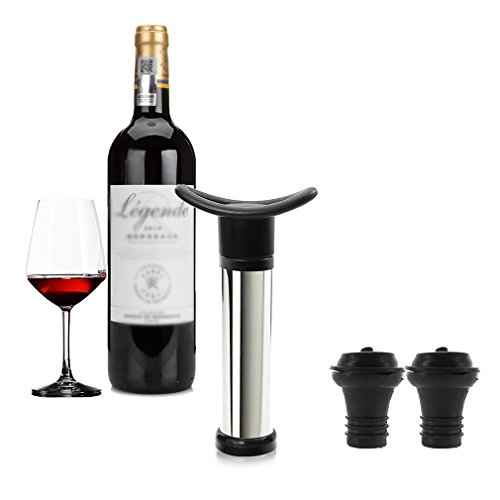 Vicloon Vacuum Weinverschluss Weinpumpe Edelstahl mit 2 x Stopfen Schwarz