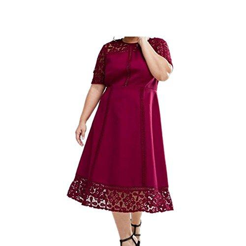 PU&PU Femmes Plus Size Casual / Formal / Travail Dentelle patchwork Hollow Robe gaine, à manches courtes au genou longueur red