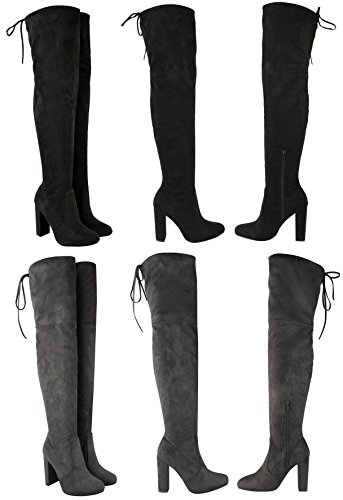 f4da2fe741a (bs16013-1) - New Womens Thigh High Boots Ladies Over The Knee Stretch  Evening Party Block Mid Heel Boots Size 3 4 5 6 7 8