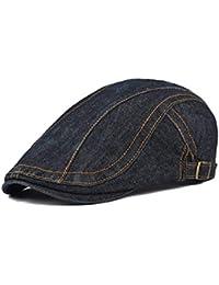BoBoLily Denim Jeans para Hombre Vendedor De Periódicos Boina Cabbie Pato  Hebilla De Cap Especial Estilo 342a26bd431