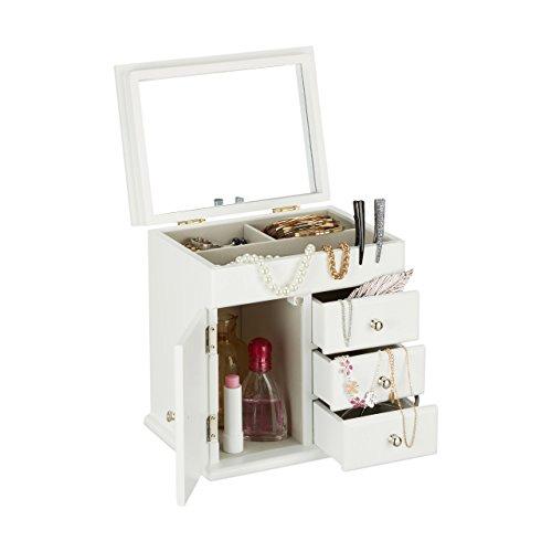 Holz Schmuck Kästen (Relaxdays Schmuckkästchen Holz mit Spiegel, Schmuckschatulle für Ketten, Ringe, Schmuckbox HxBxT 22,5 x 22 x 17 cm, weiß)