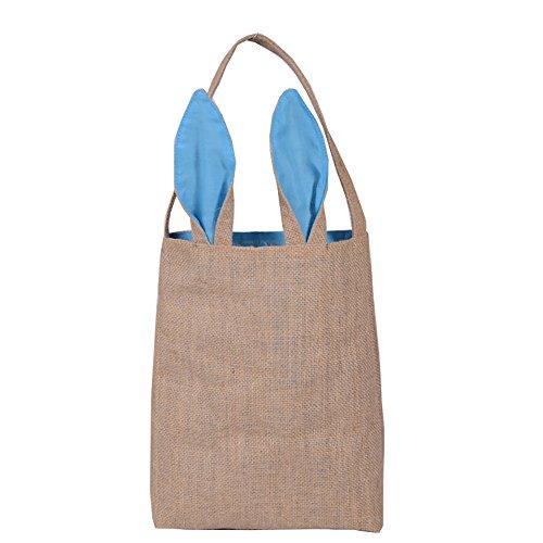 sunshineBoby Jute Geschenk Tasche Ostern Hasenohren Tasche Tote Handtasche Wristlets Clutches Bag, HäSchen SüßIgkeits Taschen Kaninchen Ohr Geschenk Verpackungs Tasche Einkaufsbeutel (Hellblau) (Tote Kaninchen Kostüm)