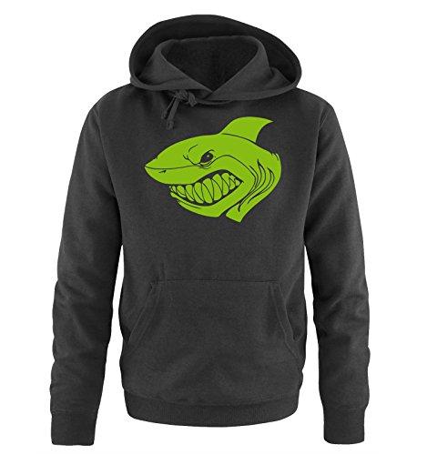 Comedy Shirts - SHARK - Uomo Hoodie cappuccio sweater - taglia S-XXL different colors nero / verde
