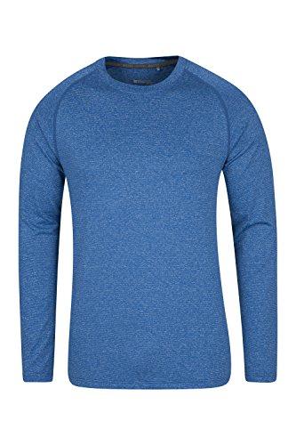 Mountain Warehouse Agra IsoCool Gestreiftes T-Shirt - T-Shirt mit LSF30, Leichtes Sommershirt, Schnelltrocknend, Besonders feuchtigkeitsableitend, atmungaktiv Blau Medium