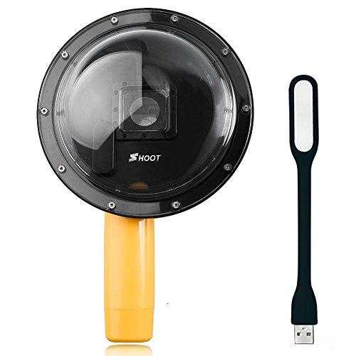 First2savvv GO-YYZ-01D01 6 pollice Dome Port per GoPro Hero 3 + / Hero 4 subacquea fotografico a mano Grip + luce LED USB