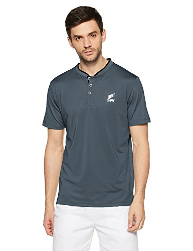 DFY Men's Solid Regular Fit Polo (DMF18H101103-M!_Grey + Black)