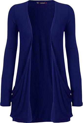 WearAll - Damen langarm Cardigan mit taschen - königsblau - 44-46