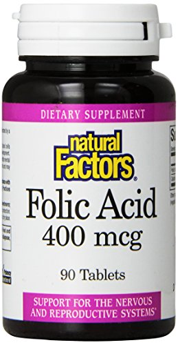 Natural Factors, Acide Folique, 400 mcg, 90 Plaquettes