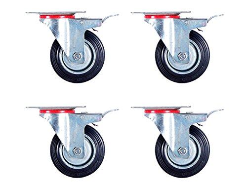 Alsino 4er Set 100 mm lenkbar Rollen Transportrollen 4x Lenkrollen mit Bremse