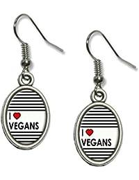 I Love Heart Vegans Novelty Dangling Drop Oval Charm Earrings