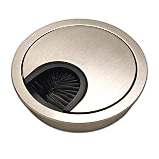 Sossai Desk Cable Grommet/Cable Outlet/Cord Hole Cover Plate with Tidy Brush for Desks, Offices & Worktops | 1 pc KDM1-GS | Design: Brushed Steel | Diameter: 60 mm | Material: Metal