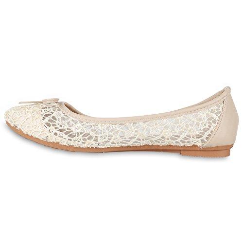 Stiefelparadies Klassische Damen Ballerinas Slippers Flats Übergrößen Flache Schuhe Metallic Spitze Glitzer Abendschuhe Flandell Spitze Creme