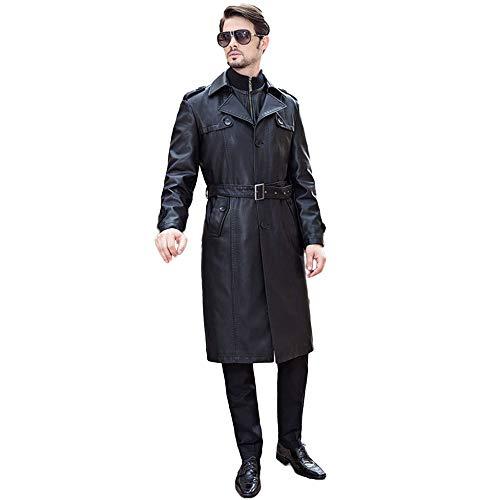 er Warm Sheep Haut Trenchcoat Lange Leder Einreiher Windjacke Zipper Outdoor Jacke Mit Fleece Gefüttert,Black-L/Bust116cm ()