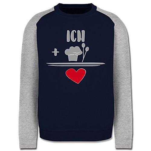 Küche - Ich liebe Kochen - Herren Baseball Pullover Navy Blau/Grau Meliert